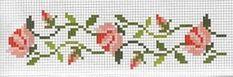 Little rose cross stitch border Cross Stitch Bookmarks, Cross Stitch Boards, Mini Cross Stitch, Cross Stitch Rose, Cross Stitch Flowers, Cross Stitching, Cross Stitch Embroidery, Embroidery Patterns, Cross Stitch Designs