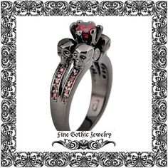 Gothic Engagement Ring | Black Engagement Ring | Red Zirconia Skull Black Gold Filled Ring | Size 5 6 7 8 9 10 #112-R