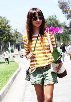 Striped shirt + leopard belt + cut off shorts = perfect weekend look