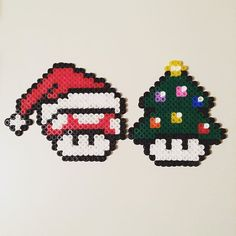Christmas mushrooms hama beads by tigertiniz
