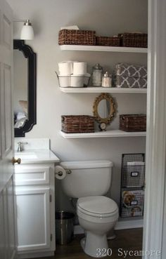 . Shelves for Storage and Decorating  Everyone wants their space to look good, even those of us with small bathrooms. Melissa from 320 Sycamore hung shelves on an unused wall for storage as well as a display area for some pretty decor. Using baskets to hold supplies is not only helpful but it also adds warmth and texture to a room that can sometimes look sterile 5 Tips for Small Space Living: Bathrooms | www.chatfieldcourt.com