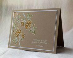 handmade card: IC374 Asian Artistry by Weekend Warrior  ... kraft ... white heat embossed line art peonies light colored ... beautiful!
