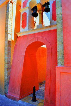 Colourful Church Belltower in Gaios, Paxos Island, Greece