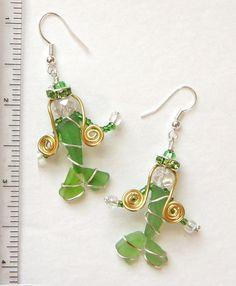 Green Sea Glass Mermaid Earrings by oceansbounty on Etsy