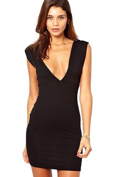 Deep V Neck Sexy Little Black Dress #Deep #Dress #maykool