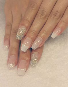 Coffin Nails white french silver glitter
