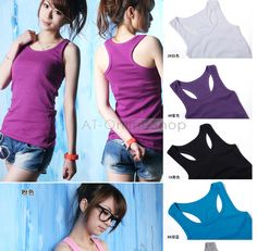 Image detail for -... Tank Top Cami No Sleeve T Shirt Girl Vest 10 Colors Select | eBay