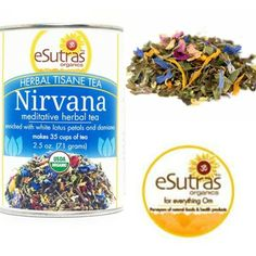 Try eSutras Nirvana Tea!  Reset and unwind after a long day with this blend of calmingherbsand aromatic flowers designed to soothe the mind & body.  #esutras_organics #nirvana #tea #meditation #calming #herbs  Available at http://esutras.com/teas-and-tisanes/299-nirvana-tea.html