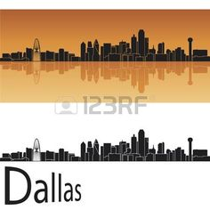 Dallas horizonte en el fondo de color naranja en el archivo vectorial editable