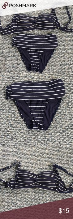 ✨HUGE DISCOUNT✨Navy & White stripped bikini Navy + white stripes + high waisted bottom bond-eye swim Swim Bikinis