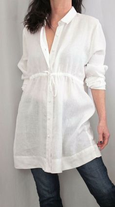 11a6e7df9 Jill Love Linen blouse has a v-neck with buttons in the front. It is navy  and white striped.