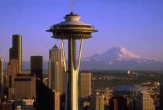 Space Needle, Seattle, Washington. Mount Olympus in the background there?