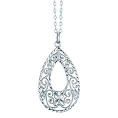 """Sterling silver necklace with open teardrop shaped pendant with an intricate filigree design that makes an elegant statement. · Necklace: 19"""" L with spring ring clasp · Pendant: 1 1/4"""" L · Use sterling silver jewelry cleaner · Imported"""