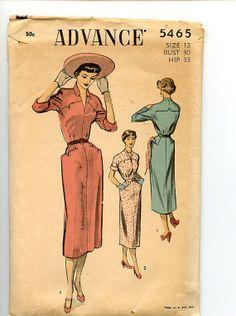 1950s Sheath Dress Advance 5465 Vintage by VioletCrownEmporium, $32.00