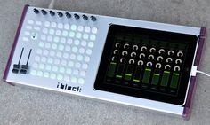 "concept photo for the ""iblock"". Block MIDI controller running touchOSC"