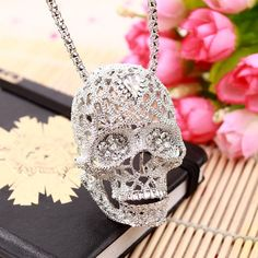 Skull Necklace - Fashion Vintage European Fashion Jewelry Hollow Crystal Long Sweater Chain Pendant Skull Necklace - Skull Clothing and Accessories Skull Pendant, Pendant Jewelry, Pendant Necklace, Skull Necklace, Skull Jewelry, Skull Rings, Collar Necklace, Body Jewelry, Jewelry Sets