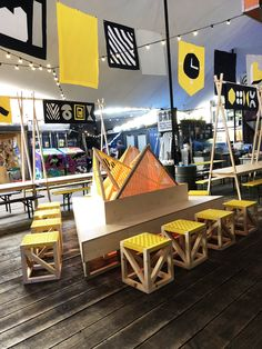 Firepit made of reclaimed wood and plywood panels. Stool made of reclaimed softwood batten and upcycled yellow webbing Design Studio London, Slow Design, Plywood Panels, Design Movements, Soft Seating, Graphic Design Studios, Batten, Brixton, Sustainable Design