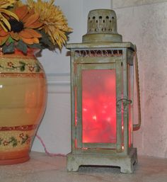 Lighted Pink Lantern repurposed  Night Light  by montesanoalpacas, $39.00