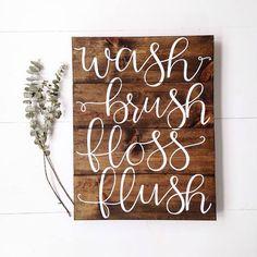 Wash, Brush, Floss, Flush Bathroom Sign #Bathroom #Wash #Farmhouse #Cottage #Rustic #FixerUpper #HomeDecor #WallArt #BathroomDecor #Ad #Brush #Floss #Flush