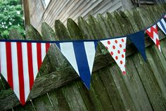 Red White Navy Blue Patriotic Party Banner  BBQ by BlueMoonStudios, $30.00