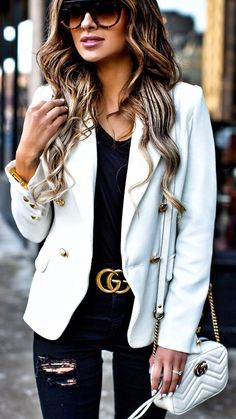 #winter #fashion / White Blazer / Black Top / Ripped Skinny Jeans / White
