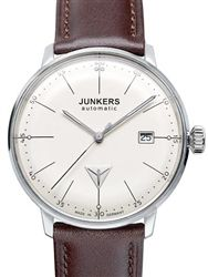 Junkers 6050-5:  Bauhaus Automatic w/exhibition caseback.  Not quite as clean as the Junghans Max Bill but it's half the price and has an exhibition back.