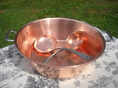 VIntage French Copper Jam Pan With Hammered Sides And Cast Iron Handles & Sieve Holey Spoon Ecumoire And Ladle by Normandy Kitchen…