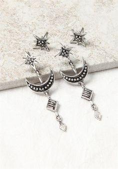 Silver Moon Earrings Set