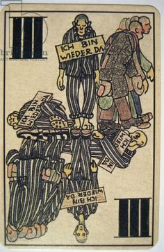 Holocaust Tarot Card, April 1945. Kobe, Boris (1905-81). The artist was a prisoner at Allach concentration camp, a sub-camp of Dachau in Germany; Each card depicts an aspect of life in the camp; Prisoners are depicted wearing signs which read 'I am back again' after failed escape attempts; The cards were probably produced after the liberation of the camp by the US Army.