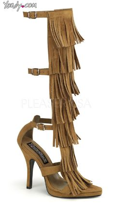 4 1/2 Inch Heel, 1/2 Inch P/f Indian 3 Buckle Strap Knee High Sandal
