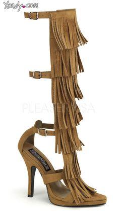 4 1/2 Inch Heel, 1/2 Inch P/f Indian 3 Buckle Strap Knee High Sandal