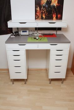 ikea alex hack with feet Ikea Alex Desk, Ikea Alex Drawers, Ikea Desk, Desk With Drawers, Ikea Office, Office Decor, Contemporary Home Offices, Small Home Offices, Counter Height Desk