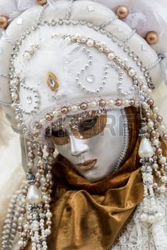 Venice Italy February 9 2013 Unidentified person with traditional Venetian carnival mask in Venice I Stock Photo