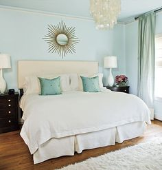 Light Blue Bedroom: soothing, simple maybe a plain bedding would be best for  small room.