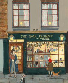 The Book Exchange Art Et Illustration, Illustrations, Kalender Design, Art Mignon, Photo Images, Vintage Soul, Gouache Painting, Christmas Art, Oeuvre D'art