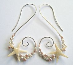 Echte Seestern Ohrringe, Strand Hoops, Rosa Perlen Ohrringe, Starfish Hoops, nautischer Schmuck