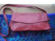 Red Leather Crossbody bag// 1990's Purse by altastyles on Etsy, $29.00