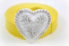 0362-Puffy Lace Flourish Heart Silicone Rubber Flexible Food Safe Mold Mould- resin, jewelry, fondant, candy, butter pat, chocolate, clay by MasterMolds on Etsy https://www.etsy.com/listing/178749055/0362-puffy-lace-flourish-heart-silicone