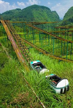 Graveyard of fun. Abandoned roller coaster in Hubei Province, China
