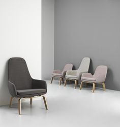 Era lounge chairs in a high or low version and dusted pink and grey tones | Normann Copenhagen