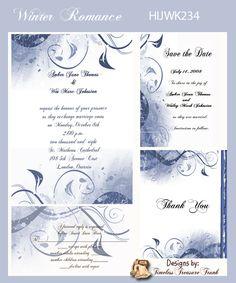 Modern Winter Wedding Invitations Blue Swirls Do it Yourself Templates  Silver and Sapphire?