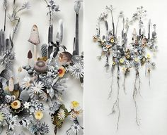 Dutch artist Anne Ten Donkelaar lays pressed wildflowers, dried stems, and paper cutouts on top of tiny little pins to create three dimensional coolages.
