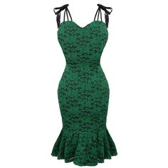 Womens Green Envy Pencil Dress Vintage 50s Floral Lace Summer Party Preview