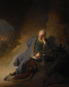 Jeremiah lamenting the destruction of Jerusalem Date:1630 Artist:Rembrandt Harmenszoon van Rijn, 1606-1669