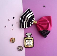 Color Block Fabric Bow and Parfum Bottle by SweetandSparkle
