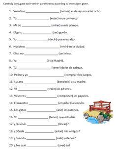 free spanish verb conjugation sentences worksheets packet on PrintableSpanish.com