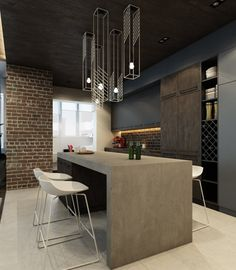Dark And Sophisticated Interior With Industrial Style (4)