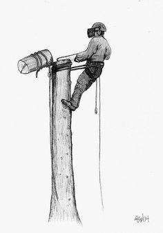 A4 print of sketch Arborist ,Tree Surgeon stihl chainsaw ,husqvarna oregon art