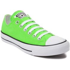 Converse Chuck Taylor All Star Lo Neon Sneaker ($45) ❤ liked on Polyvore featuring shoes, sneakers, laced sneakers, low profile shoes, converse sneakers, star sneakers and neon shoes