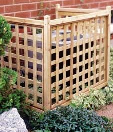 Easy to build lattice screen to cover air conditioner unit.  MUST do this! outdoor-spaces